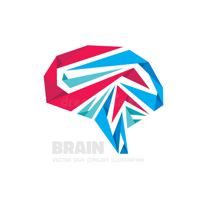 Abstract human brain - business vector logo template concept illustration. Creative idea sign. Infographic symbol. Origami design royalty free illustration