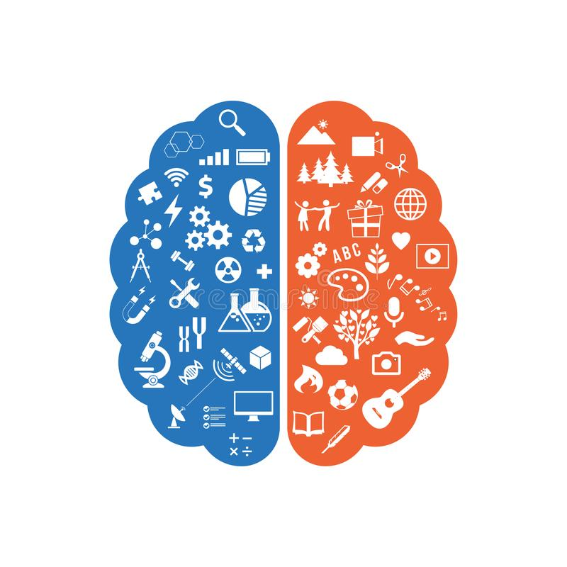 Abstract human brain with the icons of art and science. The concept of work left and right sides of the human brain. Education ico. Ns. Vector illustration royalty free illustration