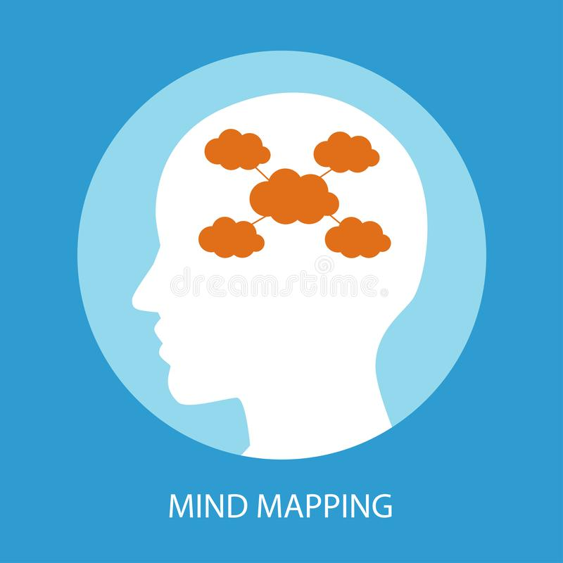Abstract human brain with mind mapping concept. stock illustration