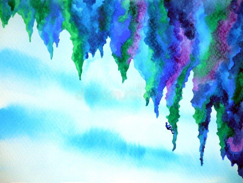 Abstract human climb mountain watercolor painting illustration design stock photos