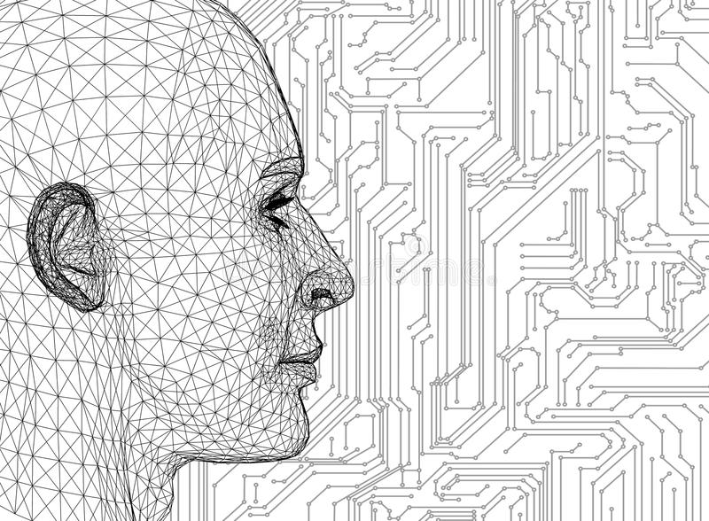 Abstract Human Head With Circuit Board vector illustration