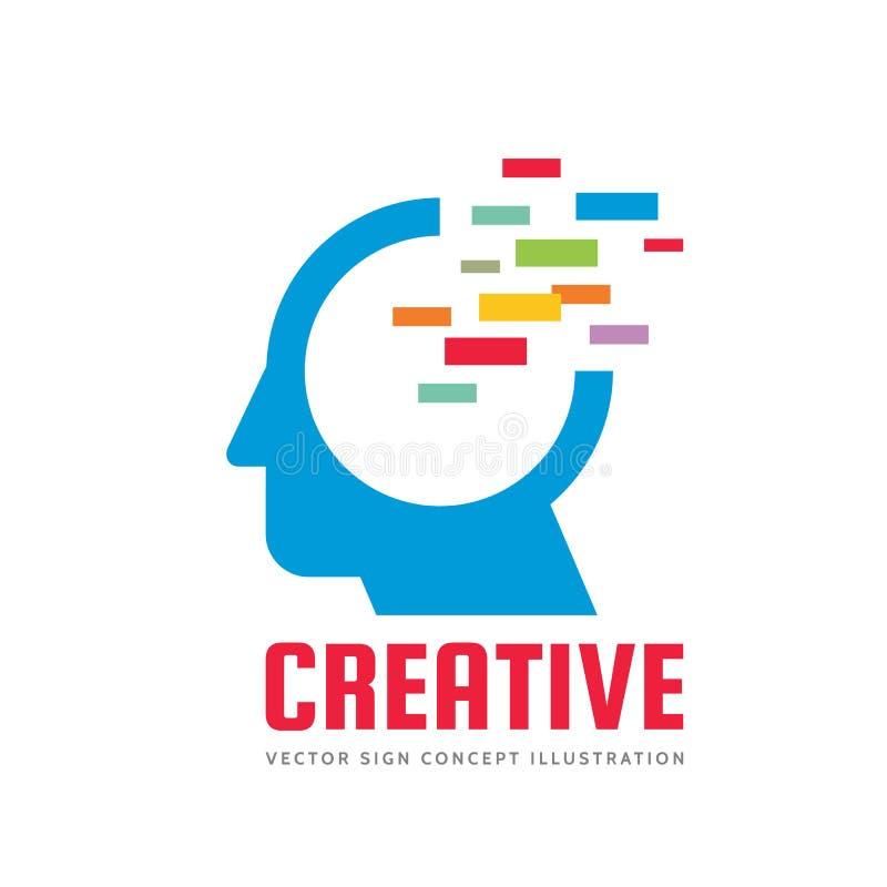Abstract human head - vector logo template concept illustration. Creative imagination sign. New idea symbol. Graphic design. stock illustration