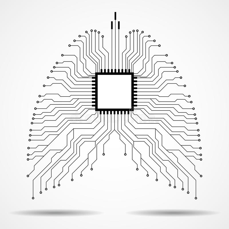 Abstract human lung, technology background vector illustration
