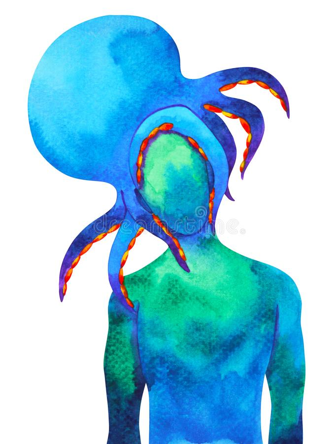 Abstract human octopus head watercolor painting illustration stock illustration