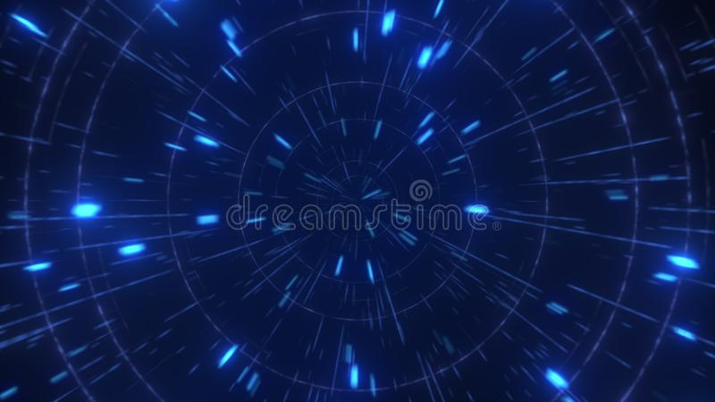 Abstract hyperspace high speed flight, 3D rendering vector illustration