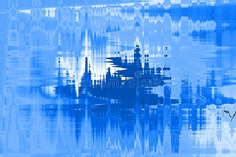 ABSTRACT ICE CASTLE WITH REFLECTION IN BLUES royalty free illustration