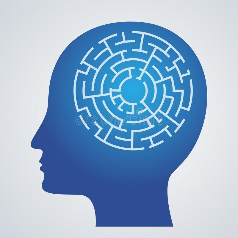 Abstract icon human brain and maze. S royalty free illustration