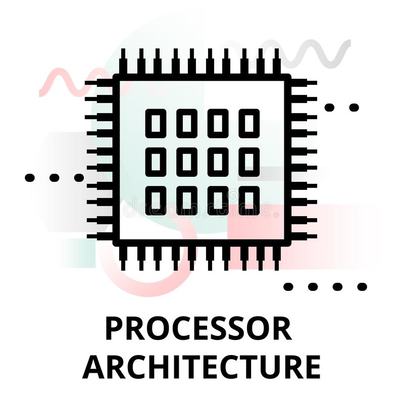 Abstract icon of processor architecture. Abstract icon of future technology - processor architecture on color geometric shapes background, for graphic and web royalty free illustration
