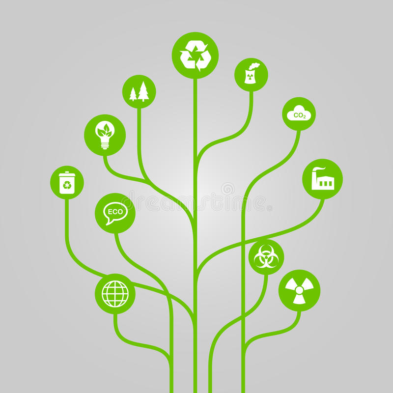Abstract icon tree illustration - environment, ecology and nature protection concept. Green abstract tree with white icons vector illustration