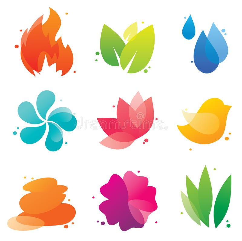 Abstract icons. Abstract nature icons set for business, EPS10 file with transparent objects stock illustration