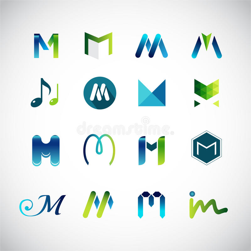 Abstract icons based on the letter M. Vector illustration of abstract icons based on the letter M stock illustration