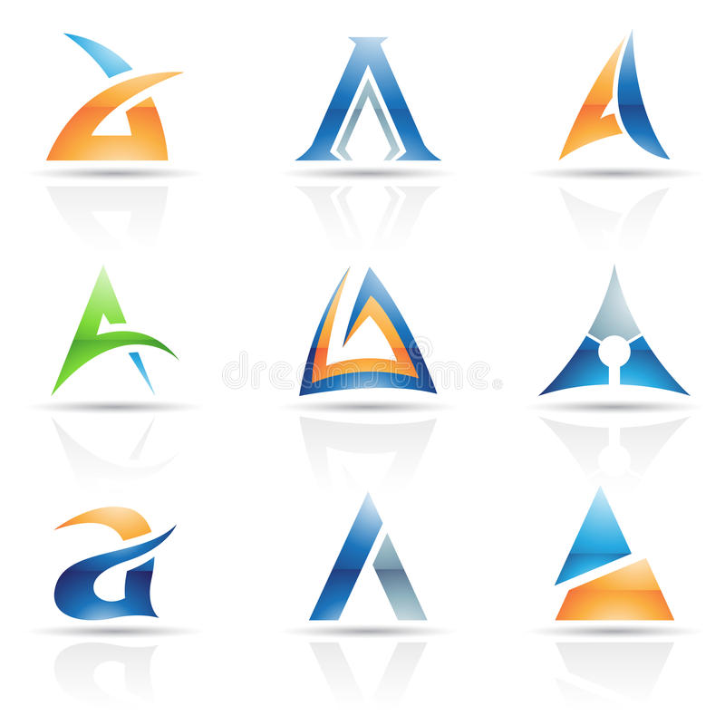 Abstract icons for letter A. Vector illustration of abstract icons based on the letter A stock illustration