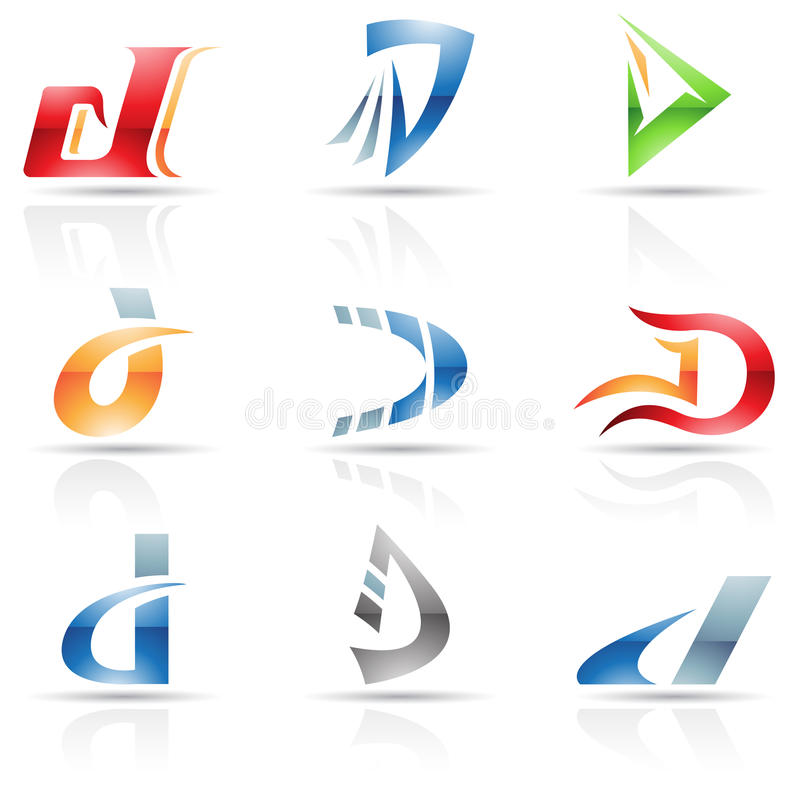 Abstract icons for letter D vector illustration