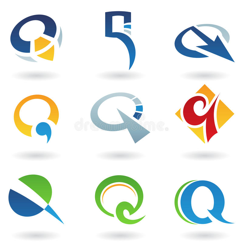 Abstract icons for letter Q. Vector illustration of abstract icons based on the letter Q royalty free illustration