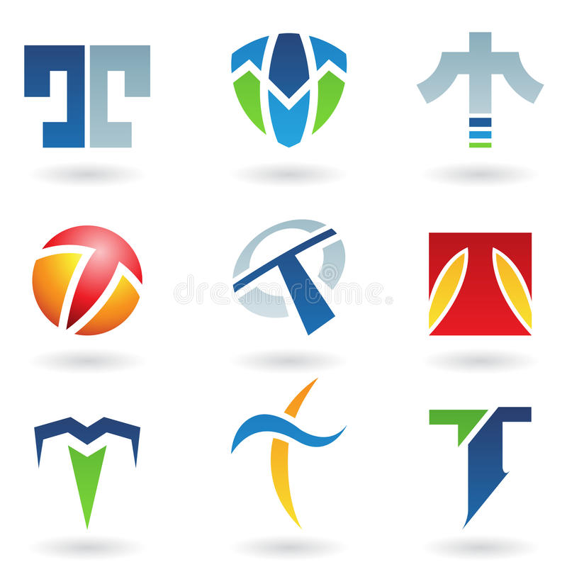 Abstract icons for letter T. Vector illustration of abstract icons based on the letter T stock illustration