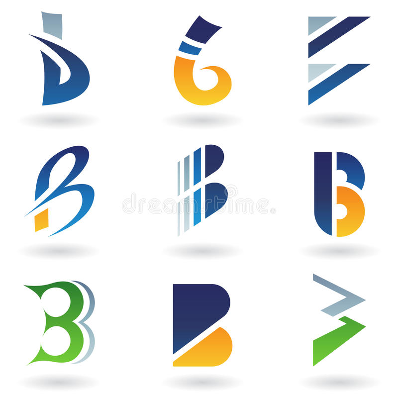 Abstract icons resembling letter B stock illustration