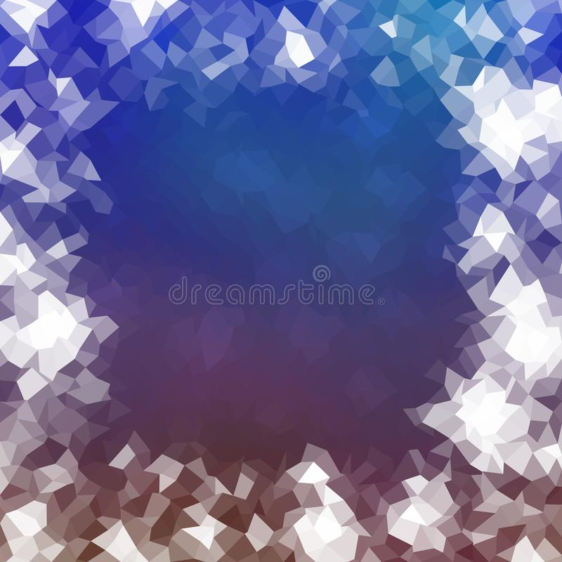 Abstract icy low poly blue purple white frame. Abstract icy lowpoly border background in white blue purple reminiscent winter cold atmosphere stock illustration