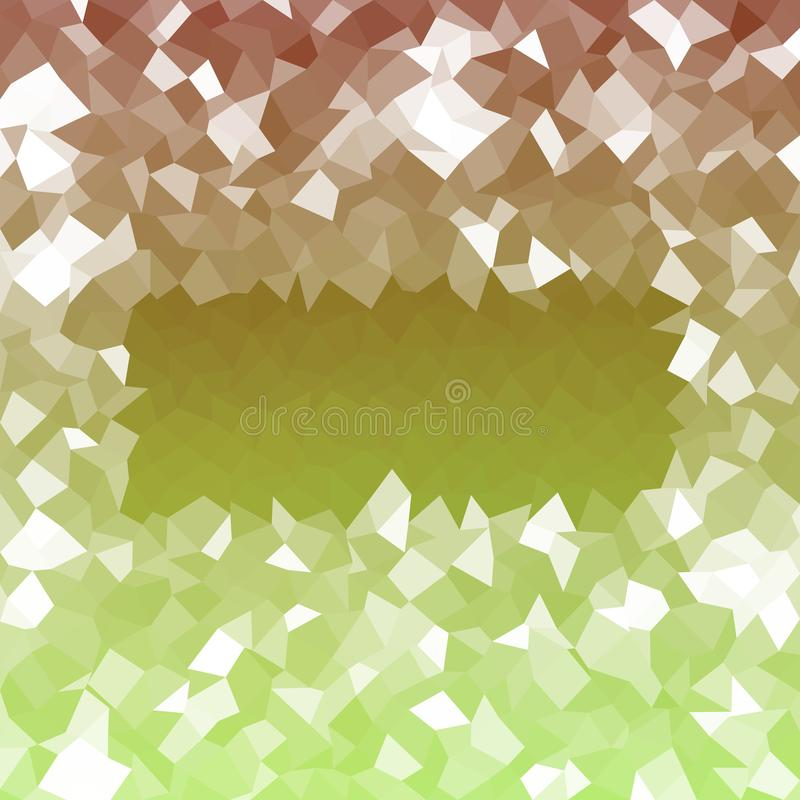 Abstract green brown white icy lowpoly background reminiscent winter cold atmosphere stock illustration