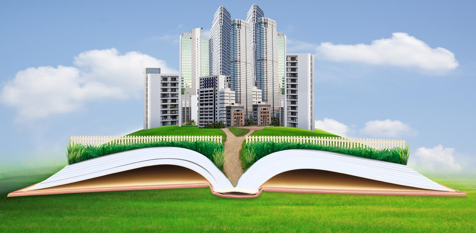 Abstract idea of modern building in green grass field royalty free stock image