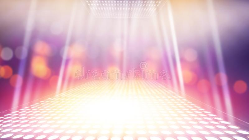 Abstract illuminated light stage with colourful background royalty free stock photos