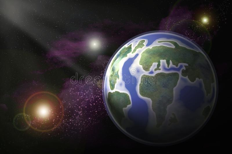 Abstract illustrated image of planet earth in open space between royalty free illustration