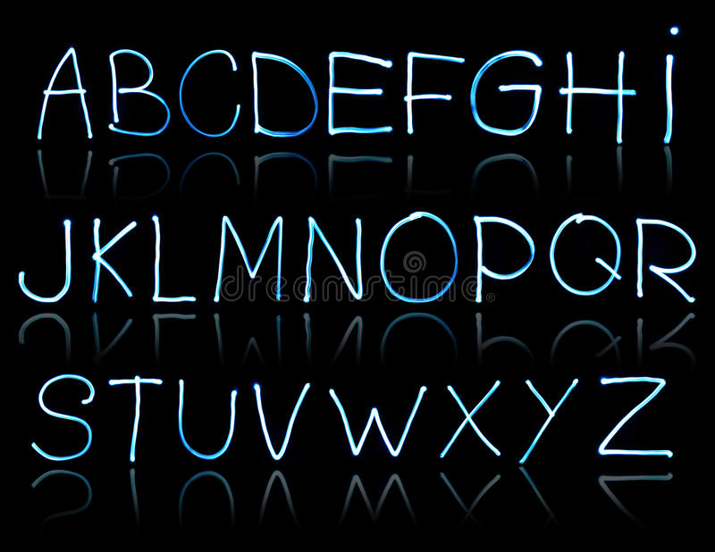Abstract illustration of the alphabet. Created with light stock photography