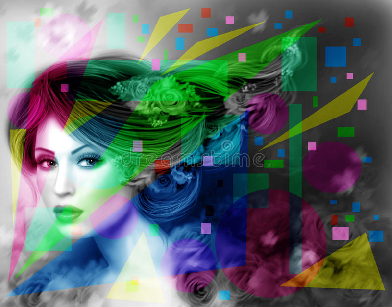 Abstract Illustration beautiful Fantasy woman with purple hairstyle and flowers. Abstract Illustration beautiful Fantasy woman stock illustration
