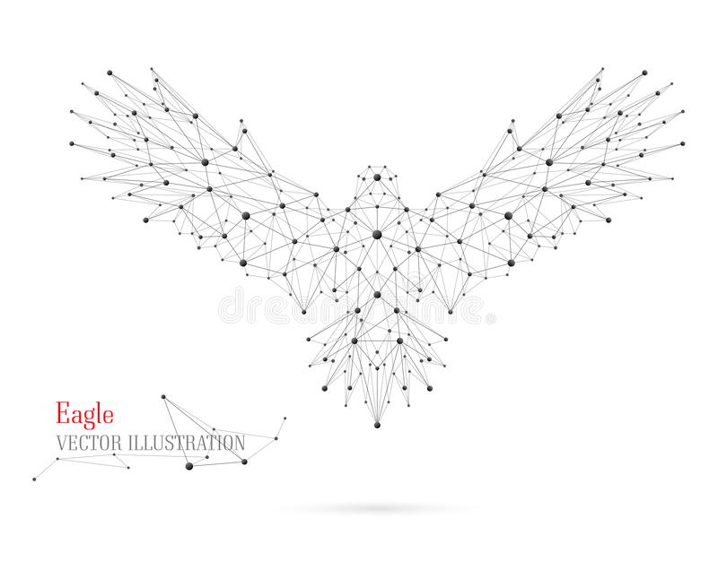 Abstract illustration of bird. Symbol collected of dots and lines. royalty free stock photography