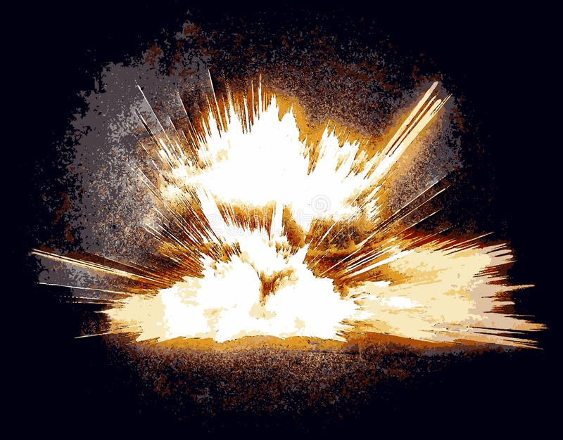 Bright fiery explosion against a black background. royalty free stock photo