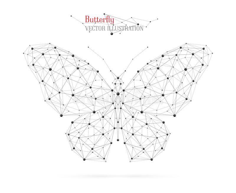 Abstract illustration of butterfly. The particles, geometric art with lines and dots. royalty free stock photography