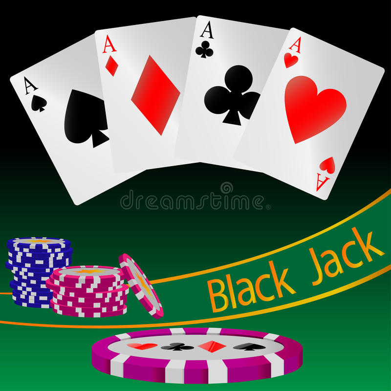Abstract illustration of the card game Black Jack stock photography