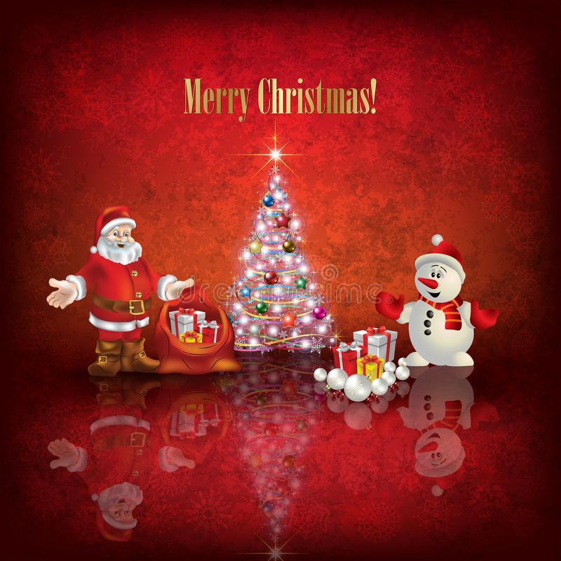 Abstract illustration with Christmas tree Santa Claus and snowman on red background stock illustration
