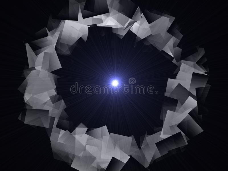 Abstract illustration of a circle of gray with metallic sheen royalty free stock image