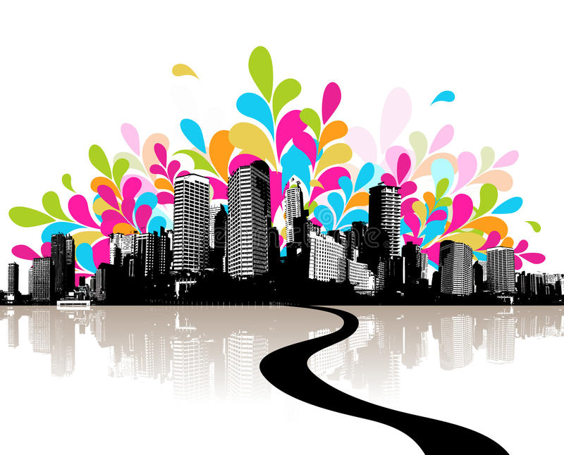 Abstract illustration with city. vector illustration