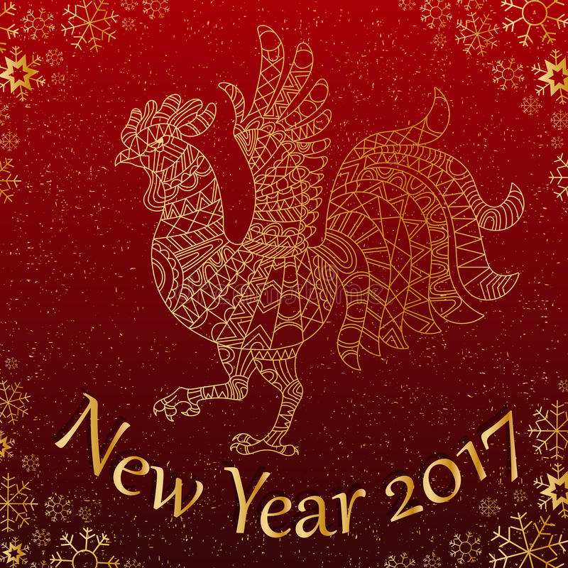 Abstract Illustration with contour rooster the symbol of the new 2017 years on the background of snowflakes with lettering , gol vector illustration