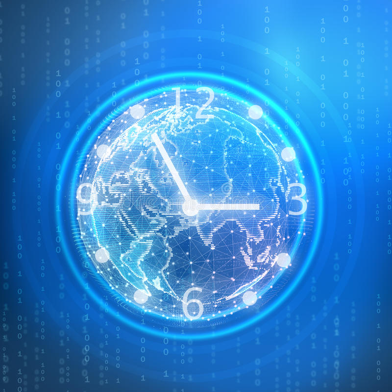 Abstract illustration of a digital clock with. Globe stock illustration