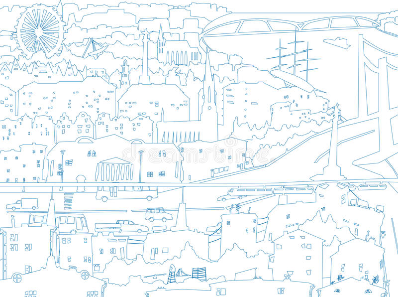 Abstract illustration of downtown city in line sty royalty free illustration