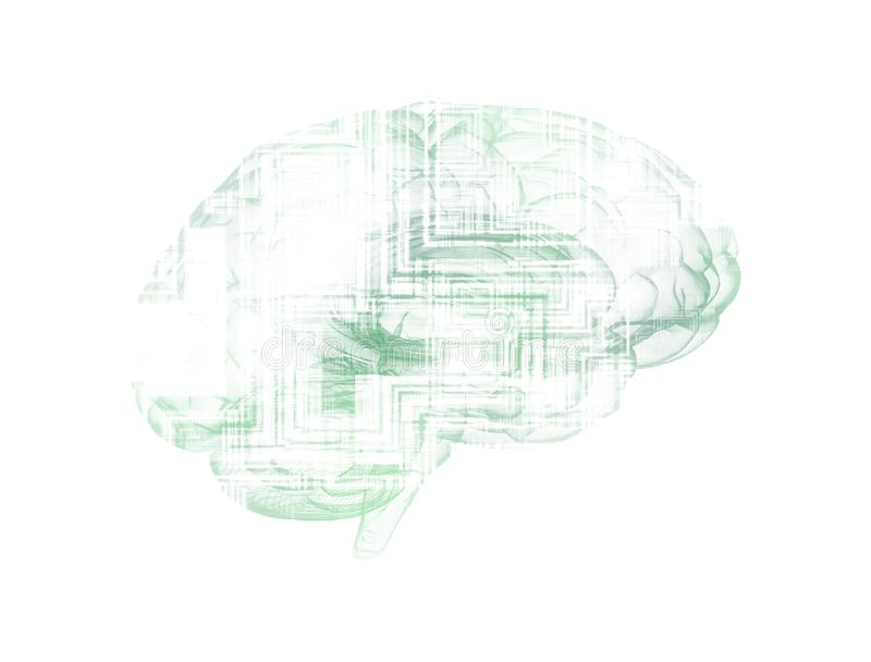 An abstract illustration of an electronic circuit board brain in profile stock illustration