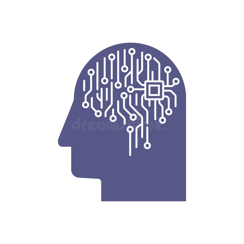 Abstract illustration of an electronic circuit board brain in profile, ai artificial intelligence concept stock illustration