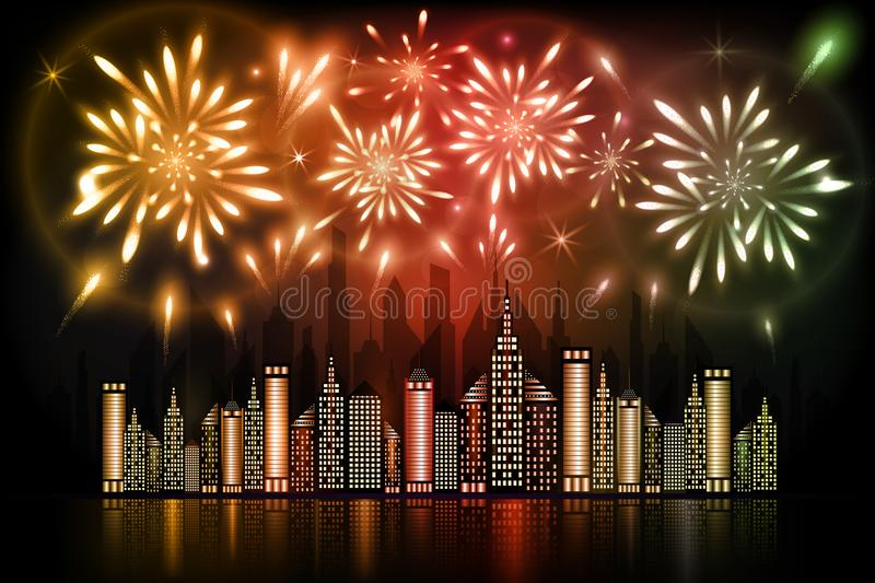 Fireworks exploding in night sky over downtown city with reflection in water in orange, red and green shades vector illustration