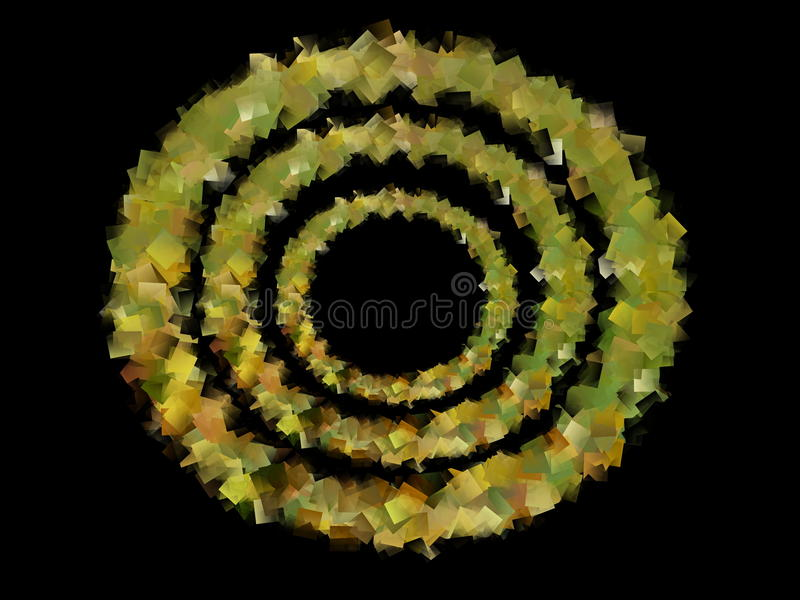 Abstract illustration of golden yellow concentric circles stock images