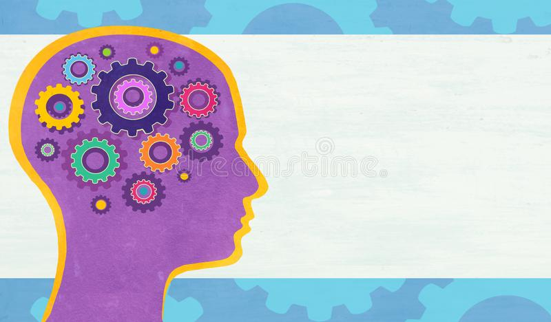 Abstract illustration with human head with gears. royalty free stock image