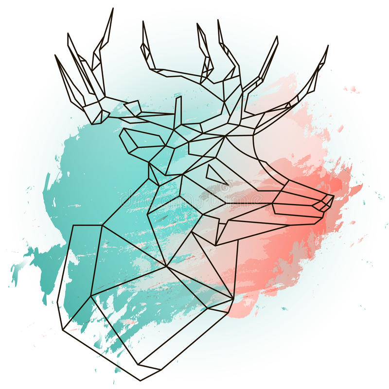 Abstract illustration with low poly dear on blue and pink watercolor royalty free illustration