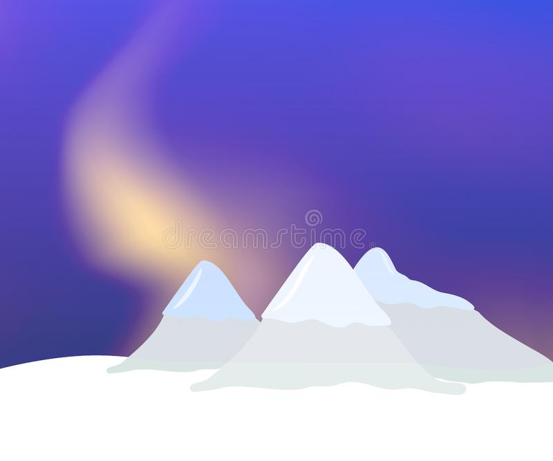Abstract illustration with mountains, snow and aurora vector illustration