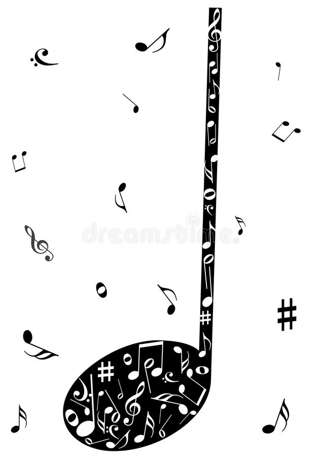 Abstract illustration of a music note. On white vector illustration