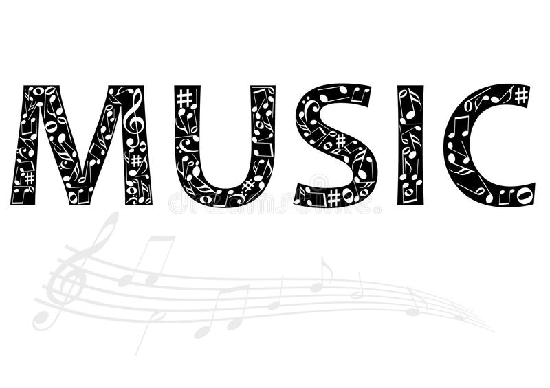 Abstract illustration of the music word with music. Notes on white stock illustration