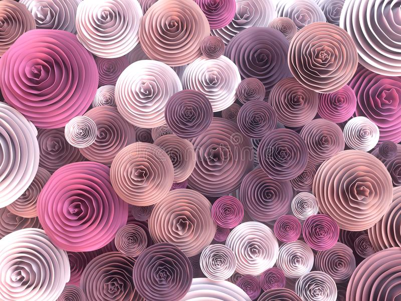 Abstract Illustration of paper-crafted, quilling flowers with different shades of spring colors. 3d rendering royalty free illustration