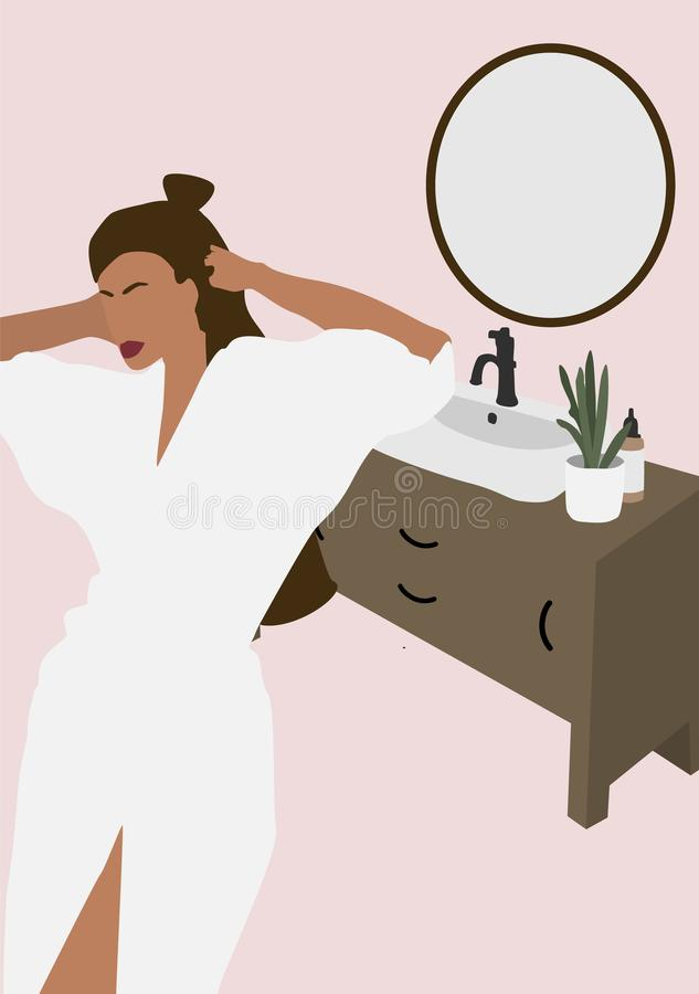 Abstract illustration with pretty woman silhouette in bathroom. vector illustration