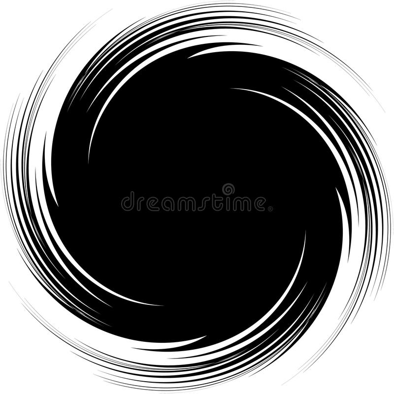 Abstract illustration with spiral, swirl element in clipping mas. K. Irregular concentric lines forming a vortex vector illustration