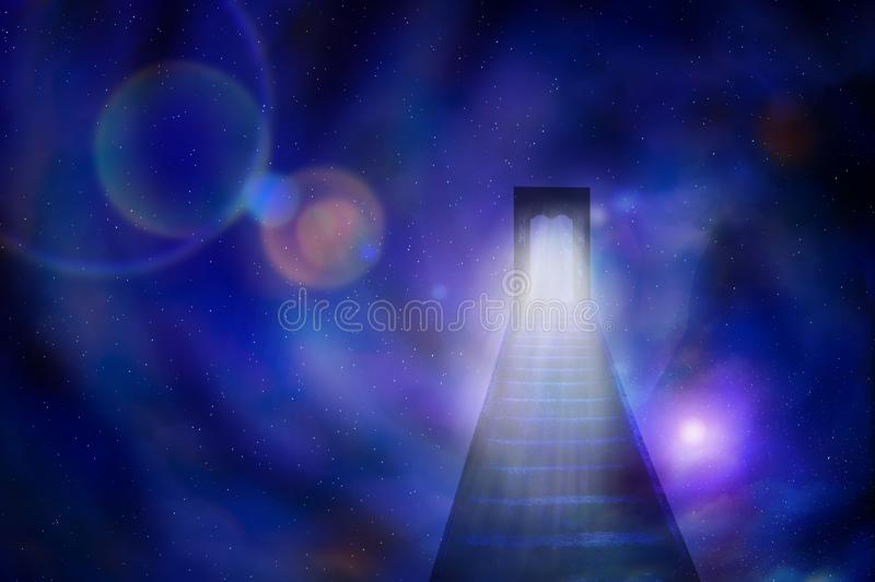 An abstract illustration of a staircase and an open door leading to the sky. The concept of knowledge, searches, the unknown stock illustration